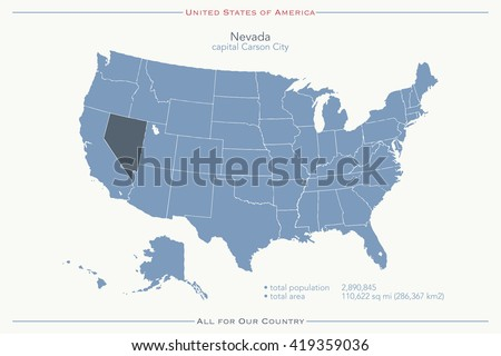 United States America Isolated Map Nevada Stock Vector - Us map nevada