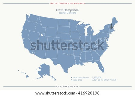 United States of America isolated map and New Hampshire State territory. vector USA political map. geographic banner template - stock vector