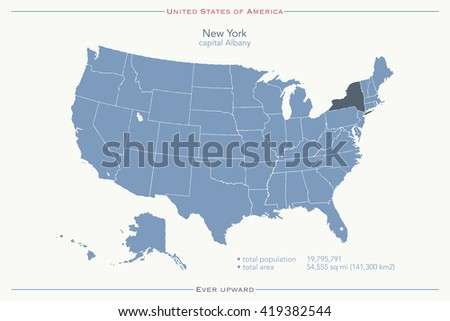 United States of America isolated map and New York State territory. vector USA political map. geographic banner template - stock vector