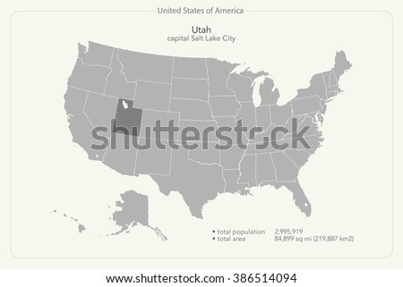 United States of America isolated map and Utah State territory. vector USA political map. geographic banner template - stock vector
