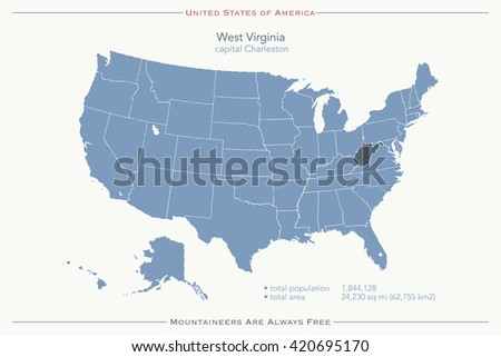 United States of America isolated map and West Virginia State territory. vector USA political map. geographic banner template - stock vector
