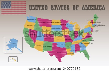 United States America Map Stock Vector Shutterstock - The united states of america map