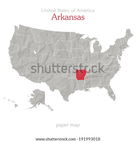 United States of America map and Arkansas territory on paper texture - stock vector