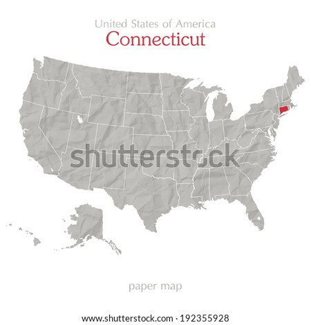 United States of America map and Connecticut state territory isolated on white background - stock vector