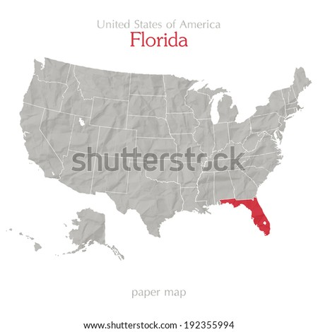 United States of America map and Florida state territory on textured paper - stock vector