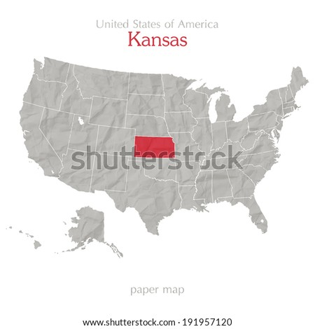 United States of America map and Kansas territory on textured paper - stock vector