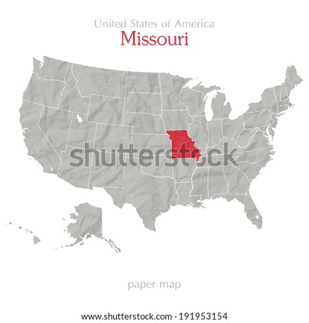 United States of America map and Missouri territory on paper background - stock vector