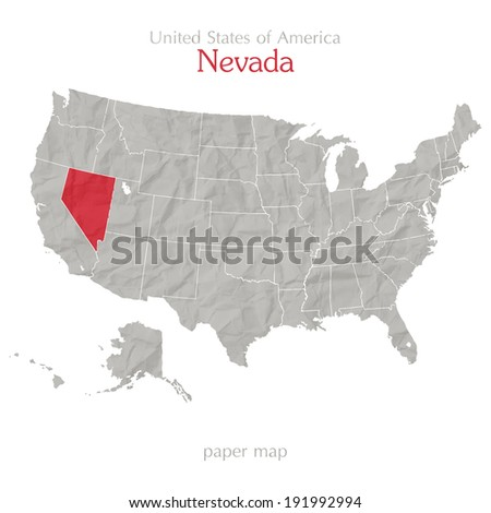 United States of America map and Nevada territory on textured paper - stock vector