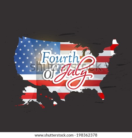 United States of America Map covered by national flag for Fourth of July, American Independence Day celebrations. - stock vector