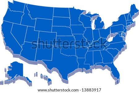 united states of america map in 3D vector design - stock vector