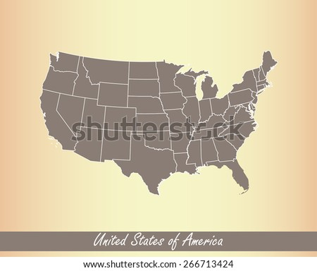 United States of America map on an old paper background - stock vector