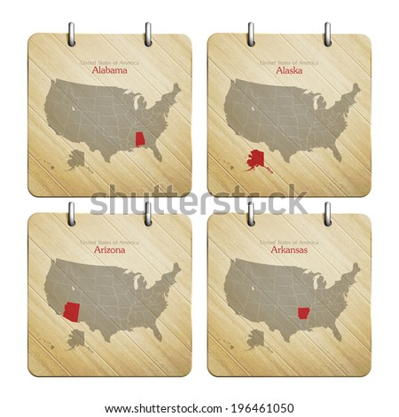 United States of America map on wooden icons - stock vector