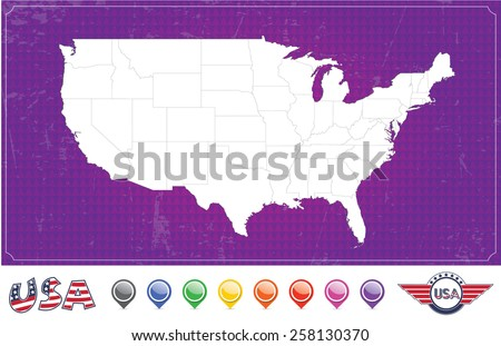 United States of America Map Package (EPS Vector Illustration) - stock vector