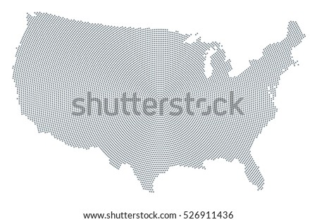 United States America Map Radial Dot Stock Vector - Cool us map with dots