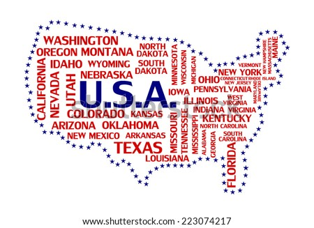 United states of america map tag cloud concept print. USA countries word collage text pattern, flag colors - blue and red color vector art image illustration isolated on white background
