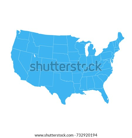 United States America Map Isolated On Stock Vector - Map of the united states of america