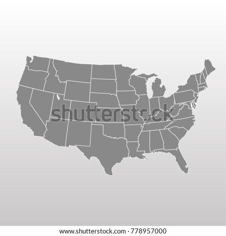 Vector Illustration Usa Map States Territories Stock Vector