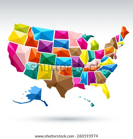 United States America Map Vector Stock Vector Shutterstock - Maps united states of america