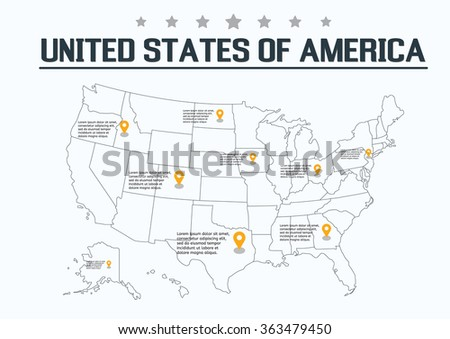 United States of America Map, vector illustration - stock vector