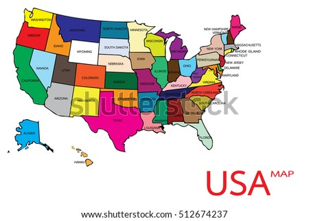 united states of america map vector in illustration.