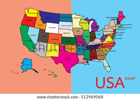Hand Drawn Us Map Map Pins Stock Vector Shutterstock - Us map illustration