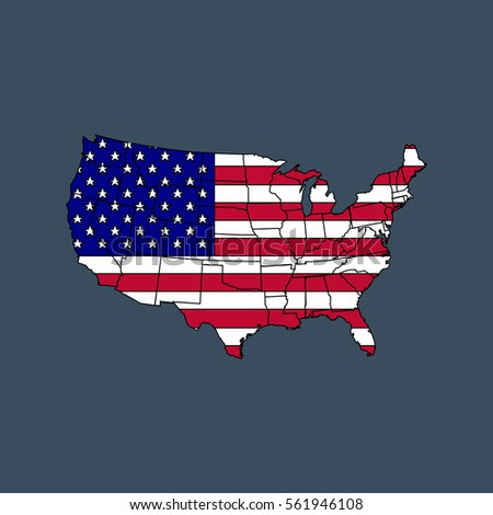 United States America Map Flag Vector Stock Vector - A picture of the united states of america map