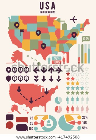 United States of America map with infographics elements. USA chart, information, graph banner. Vector illustration - stock vector