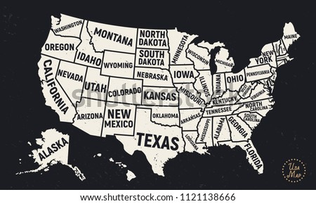 United States America Map State Names Stock Vector 1121138666 ...