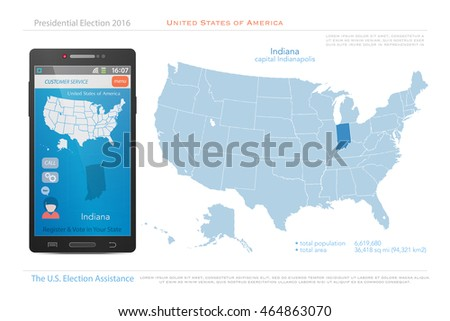 United States America Isolated Map Indiana Stock Vector - Indiana in us map