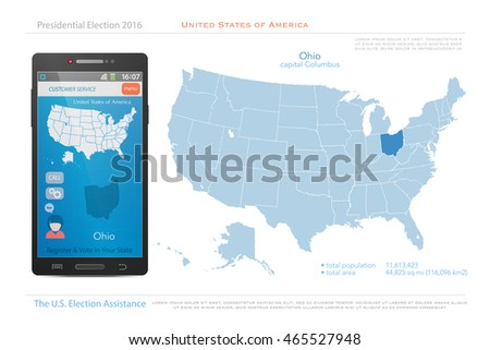United States Of America Maps And Ohio State Territory Vector Usa Political Map Us