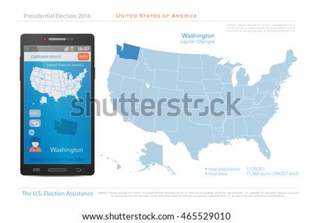 United States America Isolated Map Nebraska Stock Vector United States Political Map 2016