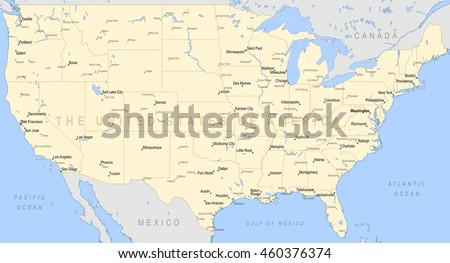 Usa Canada Large Detailed Political Map Stock Vector - Large image map of us vector labels