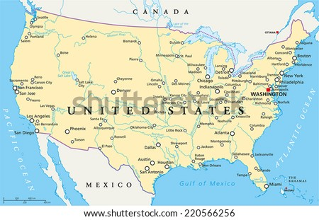 United States America Political Map Capital Stock Vector - Map of united states of america with capitals