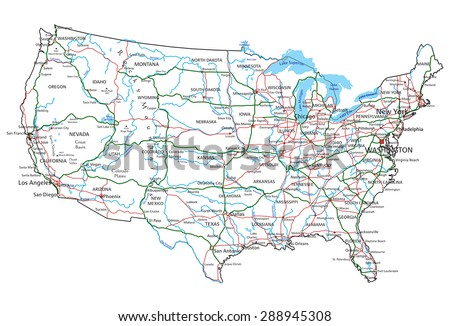 United States of America road and highway map. Vector illustration. - stock vector