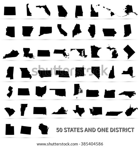 united states of america 50 states and 1 federal district set of us states maps