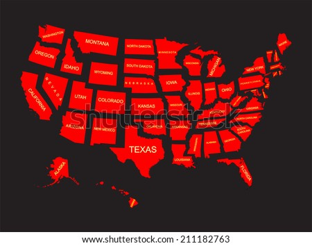 United States America States Vector Stock Vector - Us 50 states maps