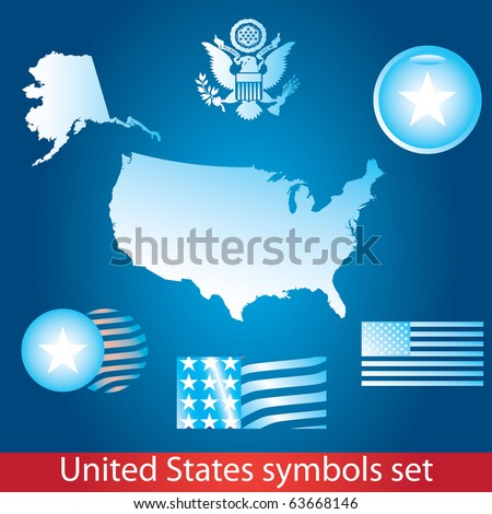 United States of America symbol set. Blue style. Flag, map, seal, badge and person icon. - stock vector