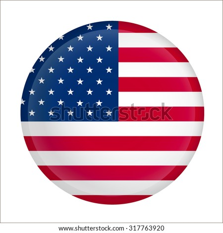 United States of America (USA)  flag vector Button - stock vector