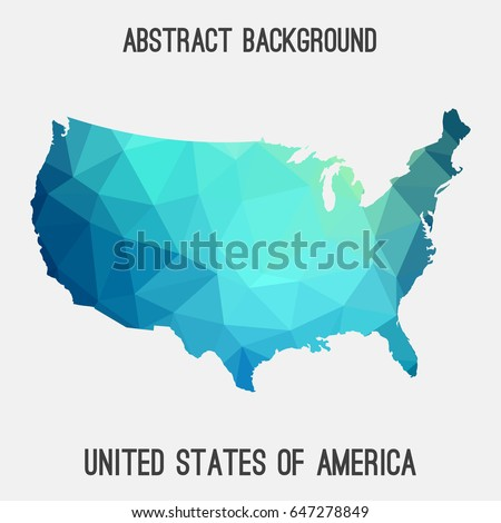 United States Americausa Map Geometric Polygonalmosaic Stock