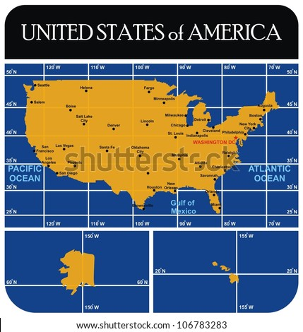 United States America Usa Map All Stock Vector 106783283