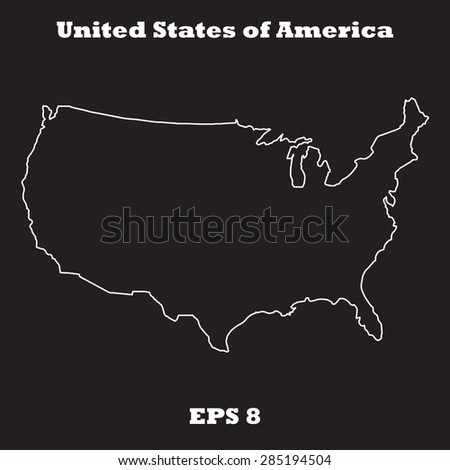 united states of america usa outline map stroke name of state line