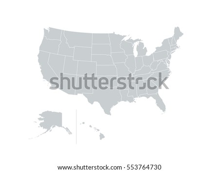 Blank Map United States America Vector Stock Vector - Map of the united states of america