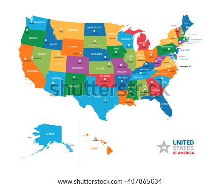 United States of America USA Vector Map - stock vector