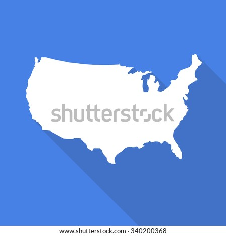 United States of America,USA white map,border flat simple style with long shadow on blue background.  - stock vector