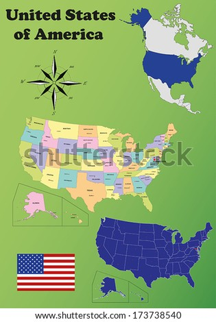 United States Of America vector set. Isolated.