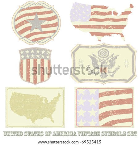 United States of America vintage symbol set.All elements (including grunge) easy editable and removable. - stock vector