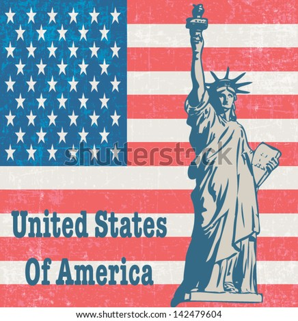 United States Of America with New York symbol Statue Of Liberty vintage poster