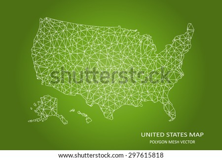 United States Polygonal Mesh Map - stock vector