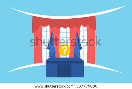 United States presidential election - simple graphics of president's office and question mark instead of politician. Metaphor of duel and fight between candidates - stock vector