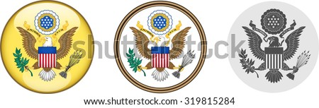 United States Seal Icons. Set of vector icons depicting the Seal of the United States of America.